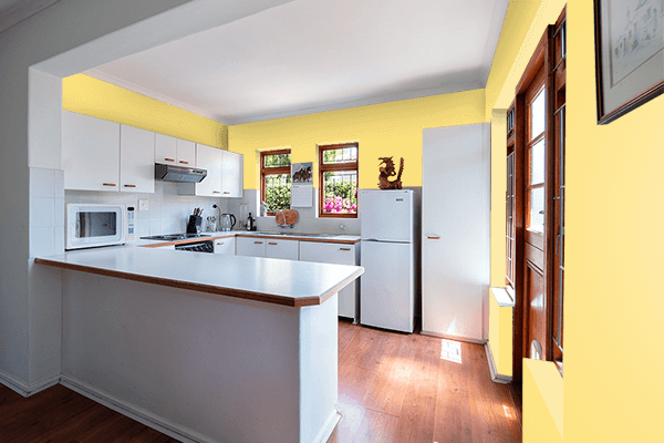 Pretty Photo frame on Luminous Yellow color kitchen interior wall color