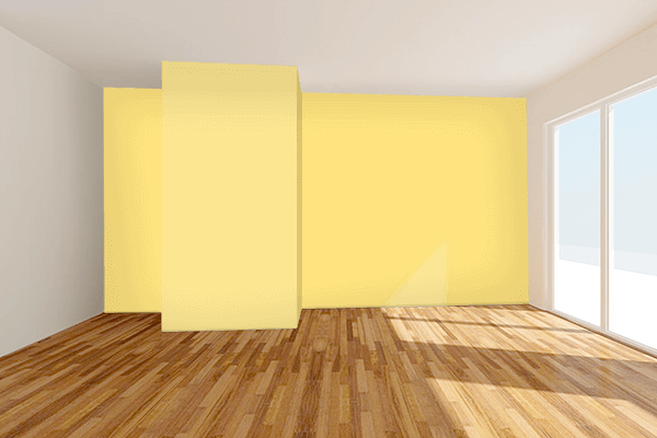Pretty Photo frame on Luminous Yellow color Living room wal color
