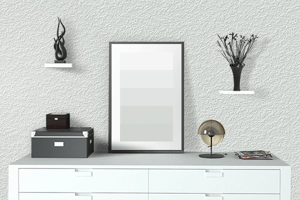 Pretty Photo frame on Stark White color drawing room interior textured wall