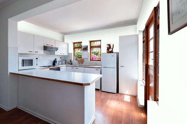Pretty Photo frame on Stark White color kitchen interior wall color