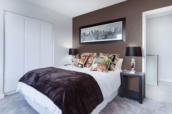 Pretty Photo frame on Chocolate Martini color Bedroom interior wall color