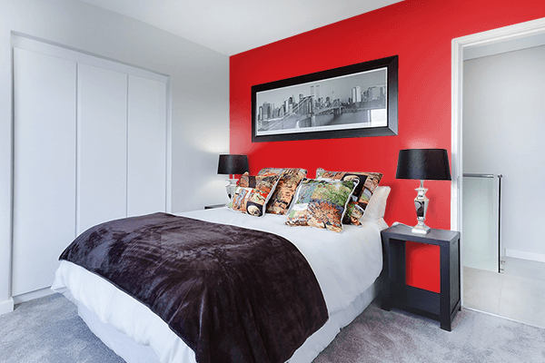 Pretty Photo frame on Fashion Red color Bedroom interior wall color
