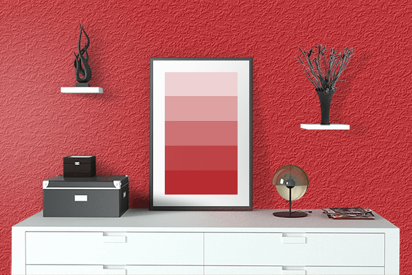Pretty Photo frame on Fashion Red color drawing room interior textured wall