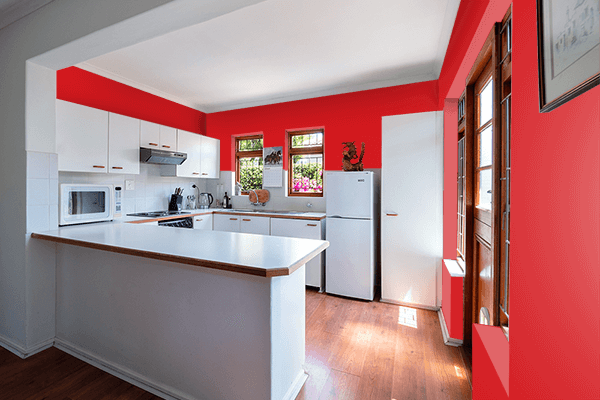 Pretty Photo frame on Fashion Red color kitchen interior wall color