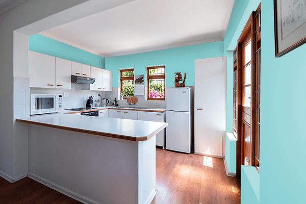 Pretty Photo frame on Aqua Splash color kitchen interior wall color