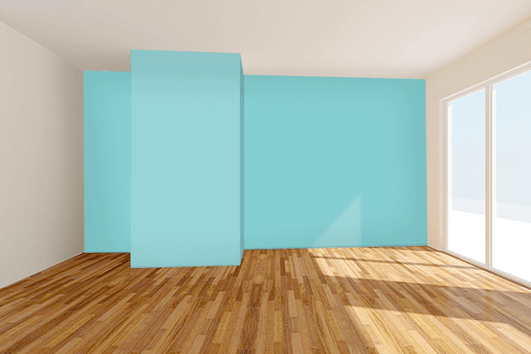 Pretty Photo frame on Aqua Splash color Living room wal color