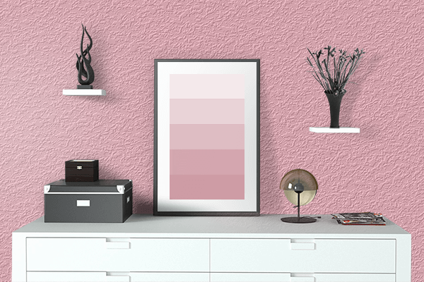 Pretty Photo frame on Candy Pink color drawing room interior textured wall