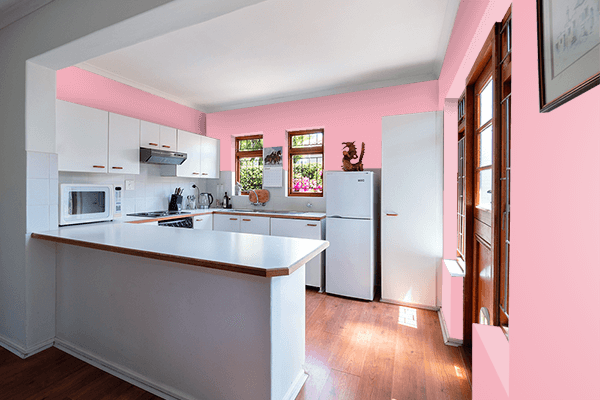 Pretty Photo frame on Candy Pink color kitchen interior wall color