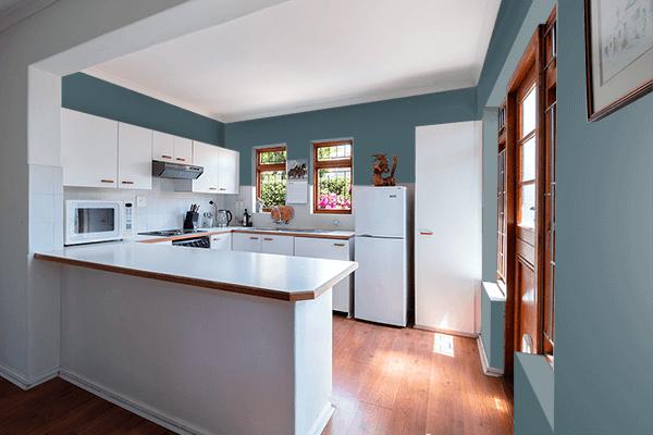 Pretty Photo frame on Cone Green Blue color kitchen interior wall color