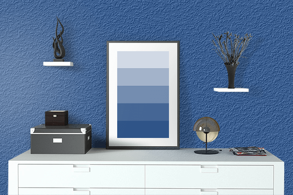 Pretty Photo frame on Deep Marine color drawing room interior textured wall