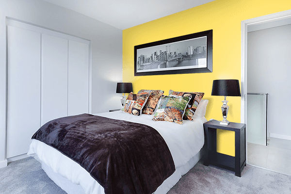 Pretty Photo frame on Happy Yellow color Bedroom interior wall color