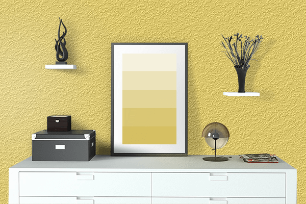 Pretty Photo frame on Happy Yellow color drawing room interior textured wall