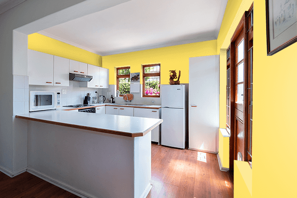 Pretty Photo frame on Happy Yellow color kitchen interior wall color
