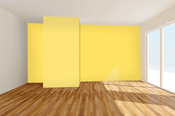Pretty Photo frame on Happy Yellow color Living room wal color