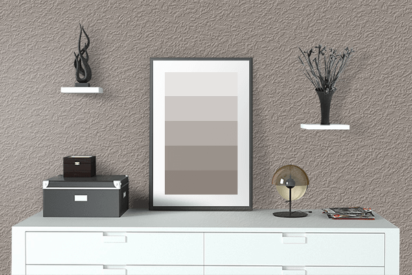 Pretty Photo frame on Dusty Brown color drawing room interior textured wall