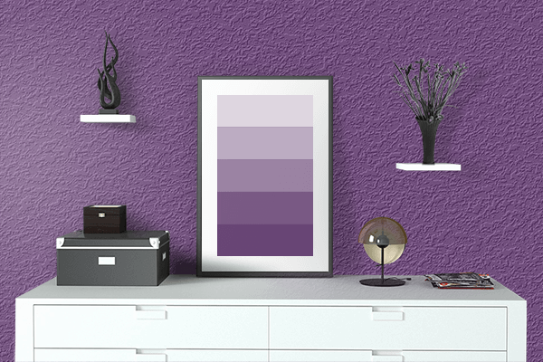Pretty Photo frame on Amaranth Purple color drawing room interior textured wall