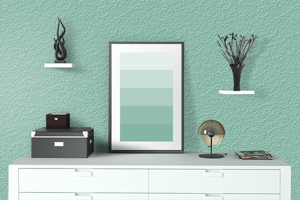 Pretty Photo frame on Larimar Green color drawing room interior textured wall