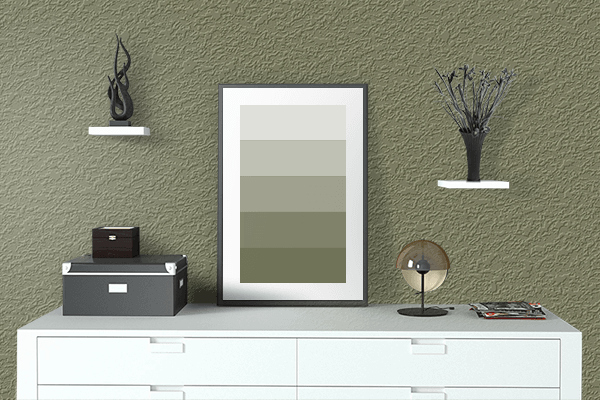 Pretty Photo frame on Alexandrite Green color drawing room interior textured wall