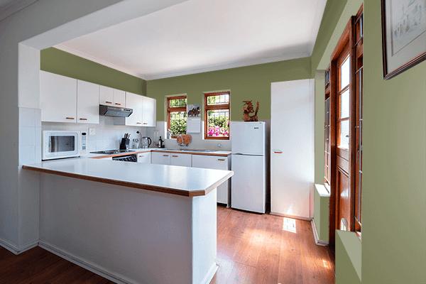 Pretty Photo frame on Alexandrite Green color kitchen interior wall color