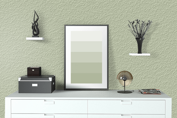 Pretty Photo frame on Seafoam Green color drawing room interior textured wall