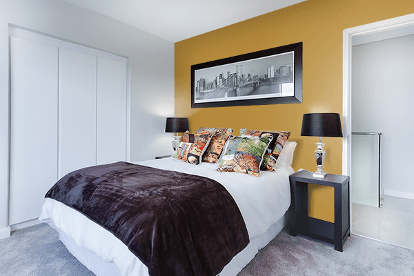 Pretty Photo frame on Harvest Gold (Pantone) color Bedroom interior wall color
