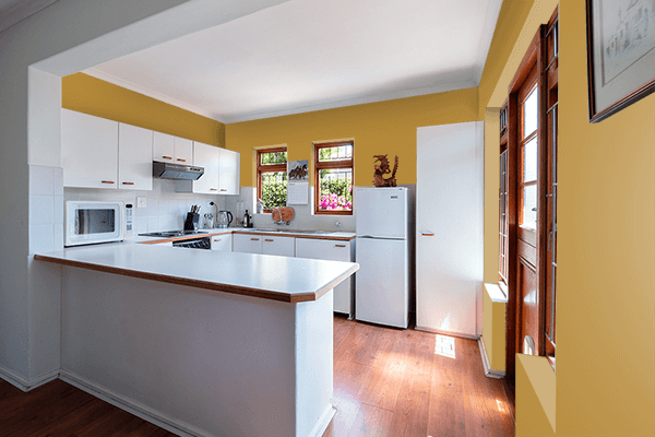 Pretty Photo frame on Harvest Gold (Pantone) color kitchen interior wall color