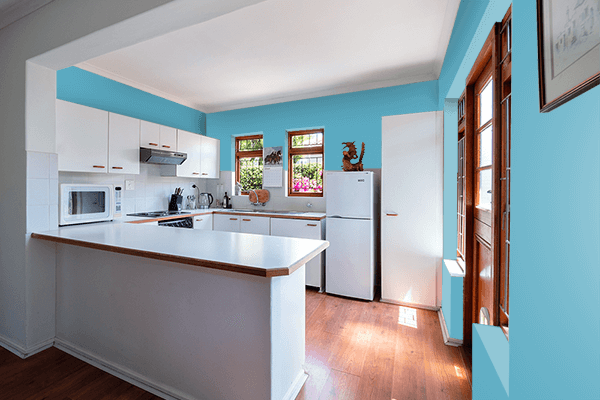 Pretty Photo frame on Blue Mist color kitchen interior wall color