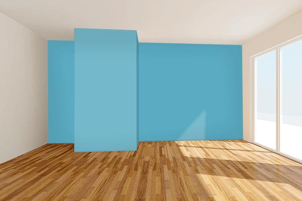 Pretty Photo frame on Blue Mist color Living room wal color
