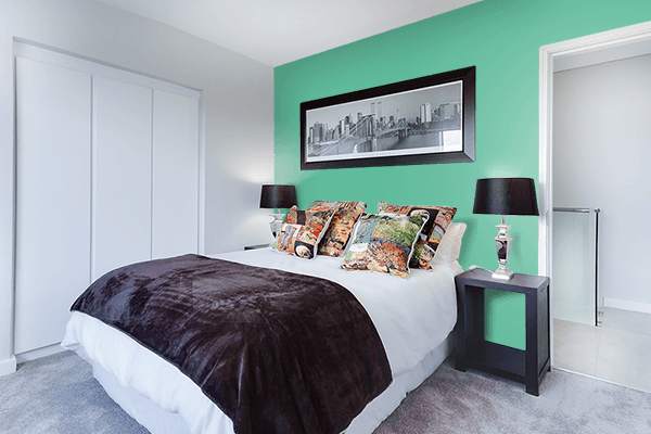 Pretty Photo frame on Emerald Green color Bedroom interior wall color