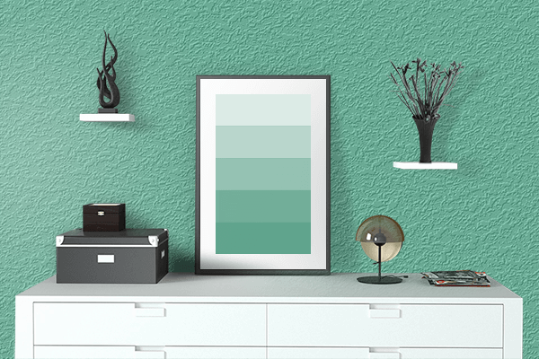 Pretty Photo frame on Emerald Green color drawing room interior textured wall
