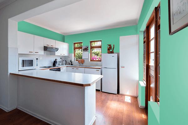 Pretty Photo frame on Emerald Green color kitchen interior wall color