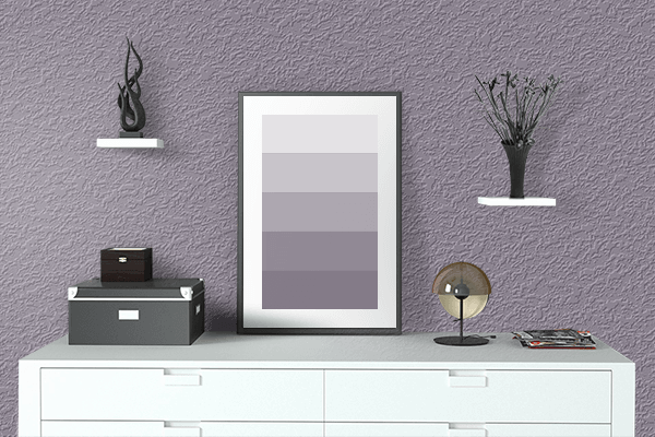 Pretty Photo frame on Purple Ash color drawing room interior textured wall