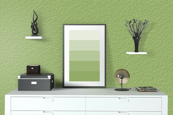 Pretty Photo frame on Spring color drawing room interior textured wall