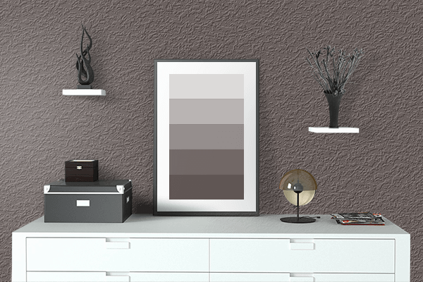 Pretty Photo frame on Warm Taupe color drawing room interior textured wall