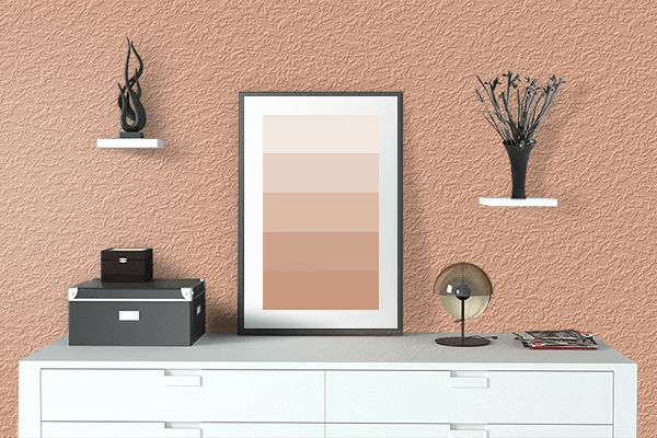 Pretty Photo frame on Coral Sands color drawing room interior textured wall