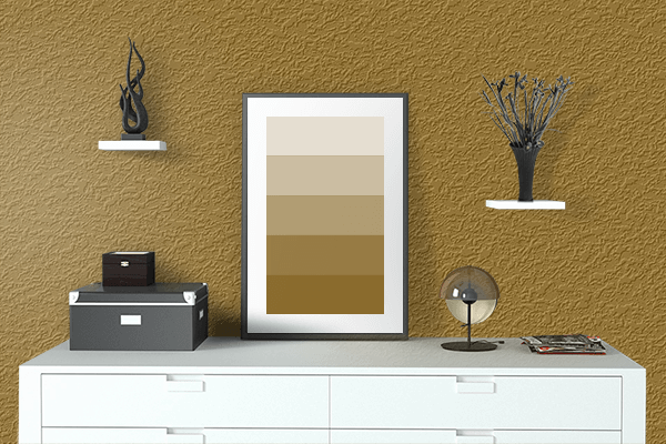 Pretty Photo frame on Chamois Yellow color drawing room interior textured wall