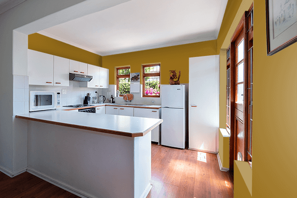 Pretty Photo frame on Chamois Yellow color kitchen interior wall color