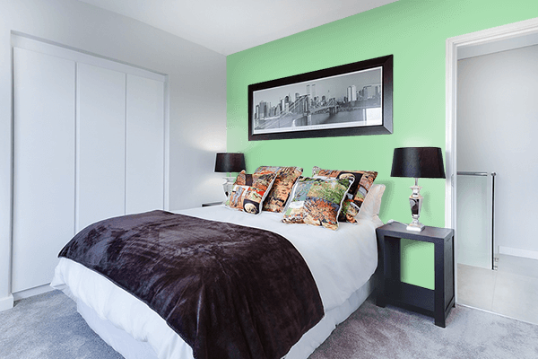 Pretty Photo frame on Green Ash color Bedroom interior wall color