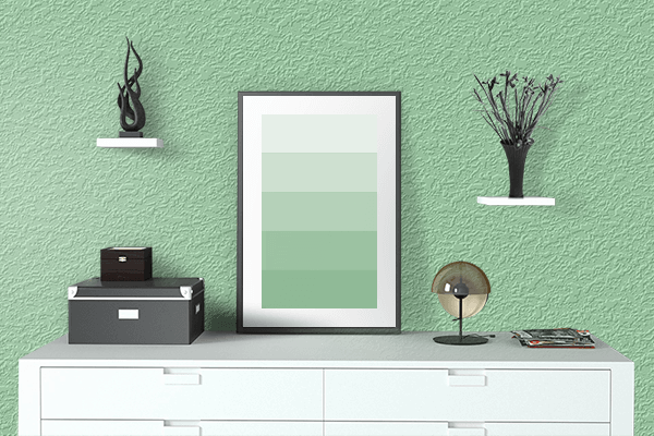 Pretty Photo frame on Green Ash color drawing room interior textured wall