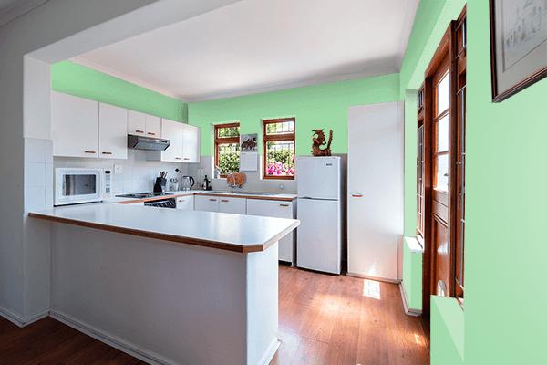 Pretty Photo frame on Green Ash color kitchen interior wall color