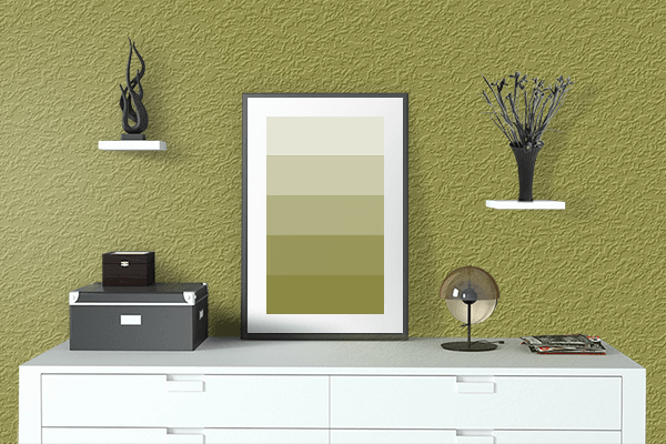 Pretty Photo frame on Golden Lime color drawing room interior textured wall
