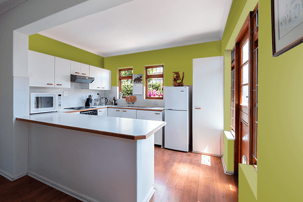 Pretty Photo frame on Golden Lime color kitchen interior wall color