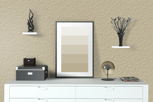 Pretty Photo frame on Sea Mist color drawing room interior textured wall