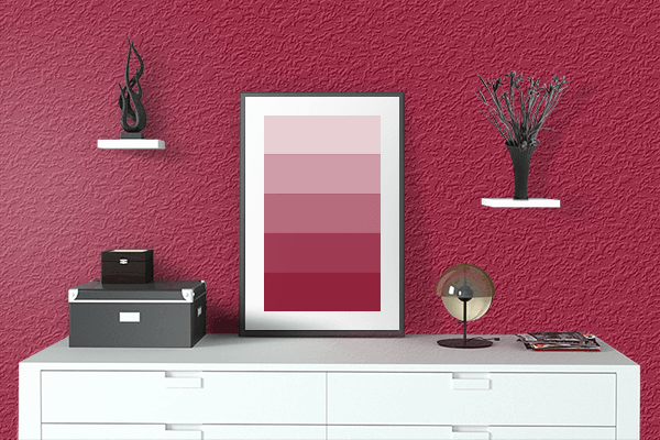 Pretty Photo frame on Arabian Red color drawing room interior textured wall