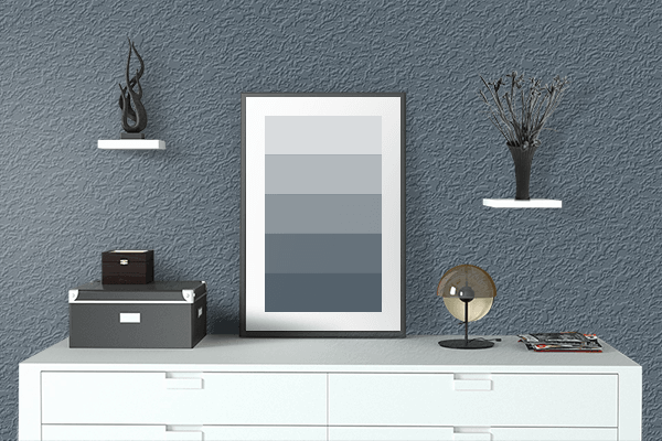 Pretty Photo frame on Trekking Blue color drawing room interior textured wall