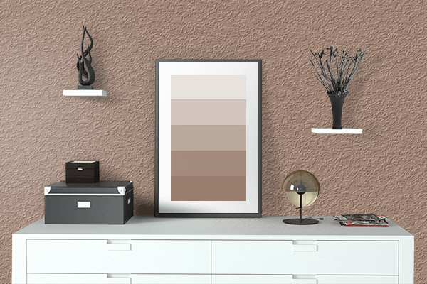 Pretty Photo frame on Tawny Brown color drawing room interior textured wall