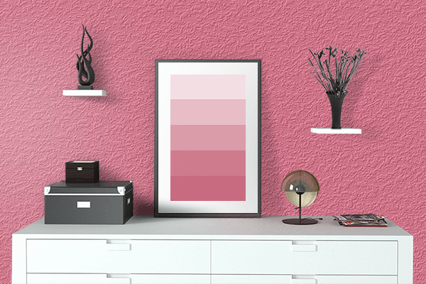 Pretty Photo frame on Pink Lemonade color drawing room interior textured wall