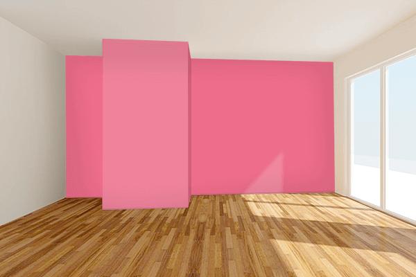 Pretty Photo frame on Pink Lemonade color Living room wal color