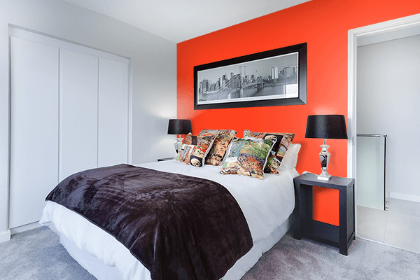 Pretty Photo frame on Scarlet Flame color Bedroom interior wall color