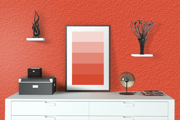 Pretty Photo frame on Scarlet Flame color drawing room interior textured wall
